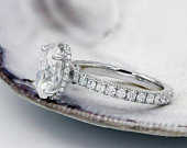 Oval Moissanite Engagement Ring, Harro Crushed Ice Moissanite Ring With Diamond Hidden Halo, 2.50ct Oval Moissanite Ring, Diamond Eternity