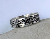 Oxidized silver ring Nature ring rustic wedding ring bohemian rings hammered ring wood texture wedding band jackson hole jewelry