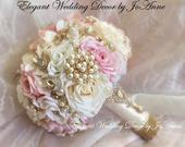 PINK and GOLD Wedding Bouquet, Custom Silk Brooch Bouquet, Pink and Ivory Silk Rose Jeweled Bridal Bouquet,Custom Bouquet, DEPOSIT