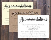 PRINTED Accommodation Card, Information, Additional, Country Rustic, Wedding Invite, Oversized Script, Names, Romantic, Elegant, Inexpensive