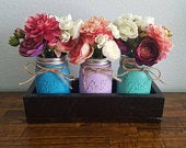 Pallet Wood Planter Box with 3 Painted Mason Jars Rustic Farmhouse Shabby Chic Herb Garden Jar Multiple Colors Available