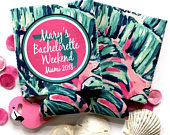 Palm Leaves Party Huggers. Tropical Wedding or Bachelorette Party Favors. Girls Weekend Family Vacation Beach Favors.