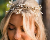 Pearl Babys Breath Boho Hair Vine For The Bride To Be, Gold Wedding Head Piece