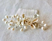 Pearl hair comb. Bridal hair accessories, Creamy color bridal comb. Wedding Decorative Combs. Bridal headpiece. Bridal Hair Comb