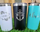 Personalized 20 OZ Tumbler, Custom Travel Mug, Laser Engraved Tumbler, Stainless Steel Mug, Insulated Tumbler, Monogram Tumbler, Customized