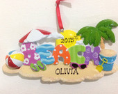 Personalized Beach Cancun Mexico Travel Ornament Wedding favor, Christmas Gift
