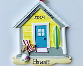Personalized Beach House Vacation Souvenir Cancun Mexico Travel First Christmas Ornament Wedding favor, Christmas Gift