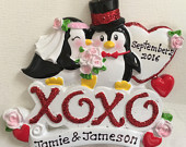 Personalized Christmas Wedding Penguin Ornaments/ Favors Couples First Christmas, Bride and Groom Wedding ,Bridal , Anniversary Gift