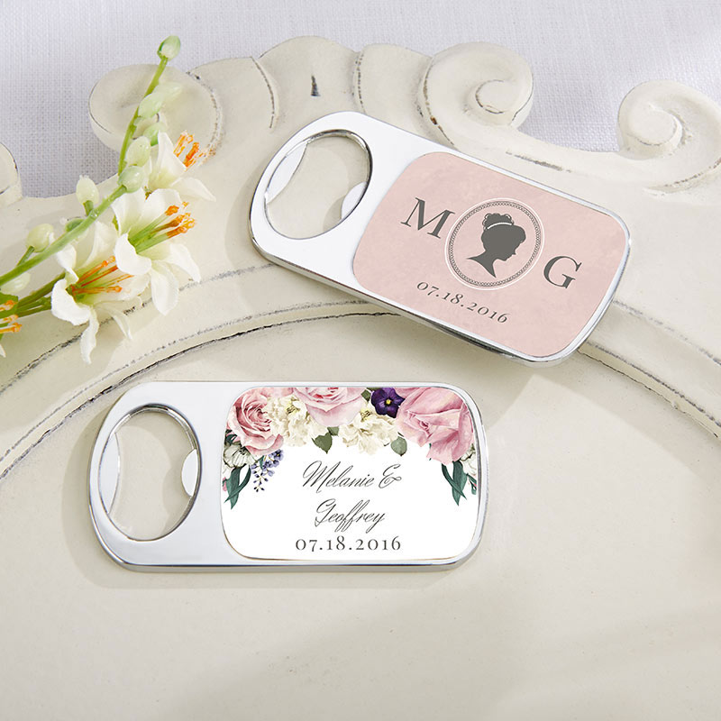 Personalized English Garden Silver Bottle Opener