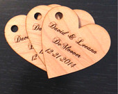 Personalized Heart Wedding Favors with Hole Set of 25