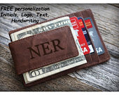 Personalized Leather Money Clip Money Clip Leather Money Clip Leather Wallet Groomsman Gift Groomsmen gifts