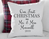 Personalized Pillow Personalized Last Name Pillow Farmhouse Pillow Personalized Bridal Shower Gift Personalized First Christmas Gift