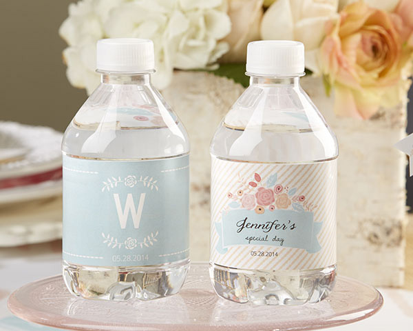 Personalized Rustic Bridal Water Bottle Labels