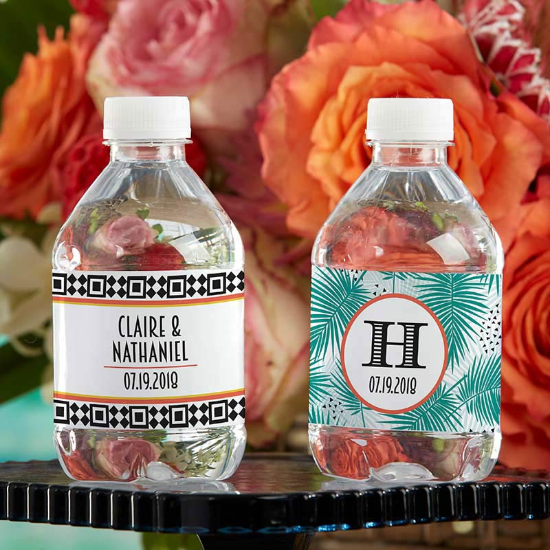 Personalized Tropical Chic Water Bottle Labels