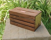 Personalized Wedding Envelope / Gift Card Crate Wine Box Stained Rustic w/ Side Slat Spaces