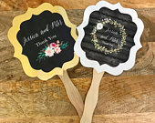 Personalized Wedding Fans Hand Paddle Fan Favors Floral Wedding Favors Wedding Ceremony Fans Wedding Favors (Set of 12)