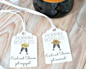 Personalized Wedding Favor Tags, Champagne Wine Bottle Tags, Poppin Bottles, Gold Wedding Favor Tags, Engagement Party Favor Tags Label