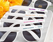 Personalized White Sunglasses, Customized Sunglass Favors, Beach Party Favors, Wedding Favors