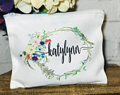 Personalized mongoram makeup cosmetic bag for bridesmaids, makeup cosmetic pouch with name, bridesmaid proposal, bachelorette gift bag