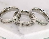 Personalized ring with childrens names 6mm Stainless Ring Engraved name ring Mom Gift Kids Names Engraving Jewelry for Women