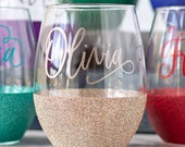 Personalized stemless wine glass, glitter wine glass with name. Custom gift for her under 20