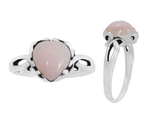 Pink Opal Heart Ring, Sterling Silver