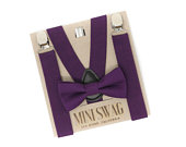 Plum Bow Tie and SuspendersPERFECT for Wedding, Groomsmen, Ring Bearer or Page Boy Outfit, Purple Birthday, Cake Smash,Baby