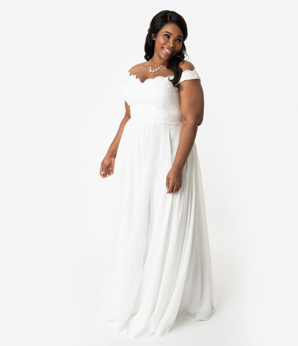 Plus Size Off White Lace Off The Shoulder Chiffon Wedding Gown