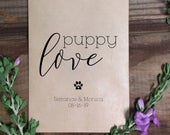 Puppy Love Wedding Treat Bags, Goodie Bags, Wedding Favor Bags, Country Wedding, Kraft Brown Bags, with love, Rustic, Burlap, Popcorn, Candy