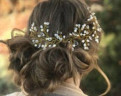 Reasonably Priced Wedding Hair Accessory, Hair Vine With Delicate Pearl Babys Breath Accents