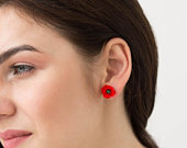 Red Poppies Stud Earrings Women Small Hypoallergenic Handmade Studs Wedding Bridal Birthday Mother Gifts Jewelry SE035