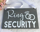 Ring Security Wood Sign, Ring Bearer Sign, Rustic Wedding Decor, Rings Sign, Wedding Decor, Bride Sign, Wedding Signs, Ceremony Sign