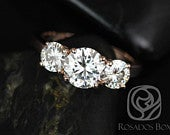 Robyn 7mm 14kt Rose Gold Round Forever One Moissanites Past Present Future 3 Stone Engagement Ring,Rosados Box