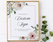 Robyn Blush and Ivory Floral Custom 8x10 Sign Template, In Loving Memory Sign, Bar Sign, Mimosa Sign, Wedding Guest Book Sign