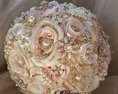 Rose Gold BROOCH BOUQUET, Rose Gold , Blush Pink and Ivory Brooch Bouquet, SIlk Jeweled Wedding Bouquet, DEPOSIT Only