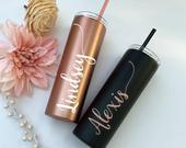 Rose Gold Tumblers, Personalized Tumbler, Personalized Coffee Cup, Travel Mug, Stainless Steel Coffee Mug, Travel Cup, Bridesmaid Gift