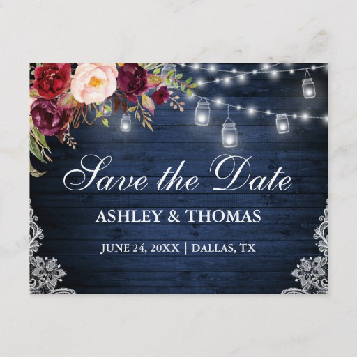 Rustic Blue Wood Lights Jars Floral Save the Date Announcement Postcard