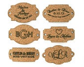 Rustic Cork Tag: Laser Cut Custom Shapes, perfect for a wine vineyard wedding invitation belly band.
