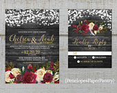 Rustic Gray Winter Wedding Invitation,Red,Ivory,Roses,Evergreens,Fairy Lights,Gray Barn Wood,Calligraphy,Gold Print,Shimmery,Printed
