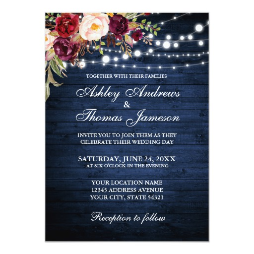 Rustic Wedding Burgundy Floral Blue Wood Lights Invitation
