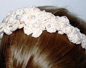 SALE ,Retro BRIDE Headband Pearl Flowers , Natural white, Wedding, Hair Fashion ,Hair Accessory, Hair adornment,