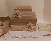 SALE!! Rustic Shabby Chic Burlap Wedding Card Box, Card Box Sets 2 tier Guest book and Pen/Pen Holder.Money Box Holder