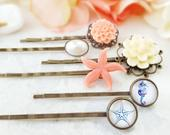STARFISH Bobby Pin Set of 6, BEACH Wedding Hair Pins, Seahorse Clip, Decorative Coral Peach Side Slides, Ivory Pearl Bridal Accessory H4036