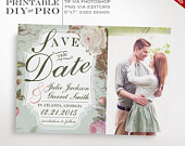 Save the Date Wedding Template Vintage Rose Wedding Photo Save the Date Printable DIY French Country Wedding Editable Custom Photograph