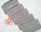 Set of 11 Personalized Wristlet Clutches Personalized Bridesmaid Clutch Hearts Wristlet Clutch Personalized Canvas Bag Name Clutch