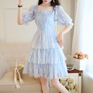 Short-Sleeve Layered Lace Dress