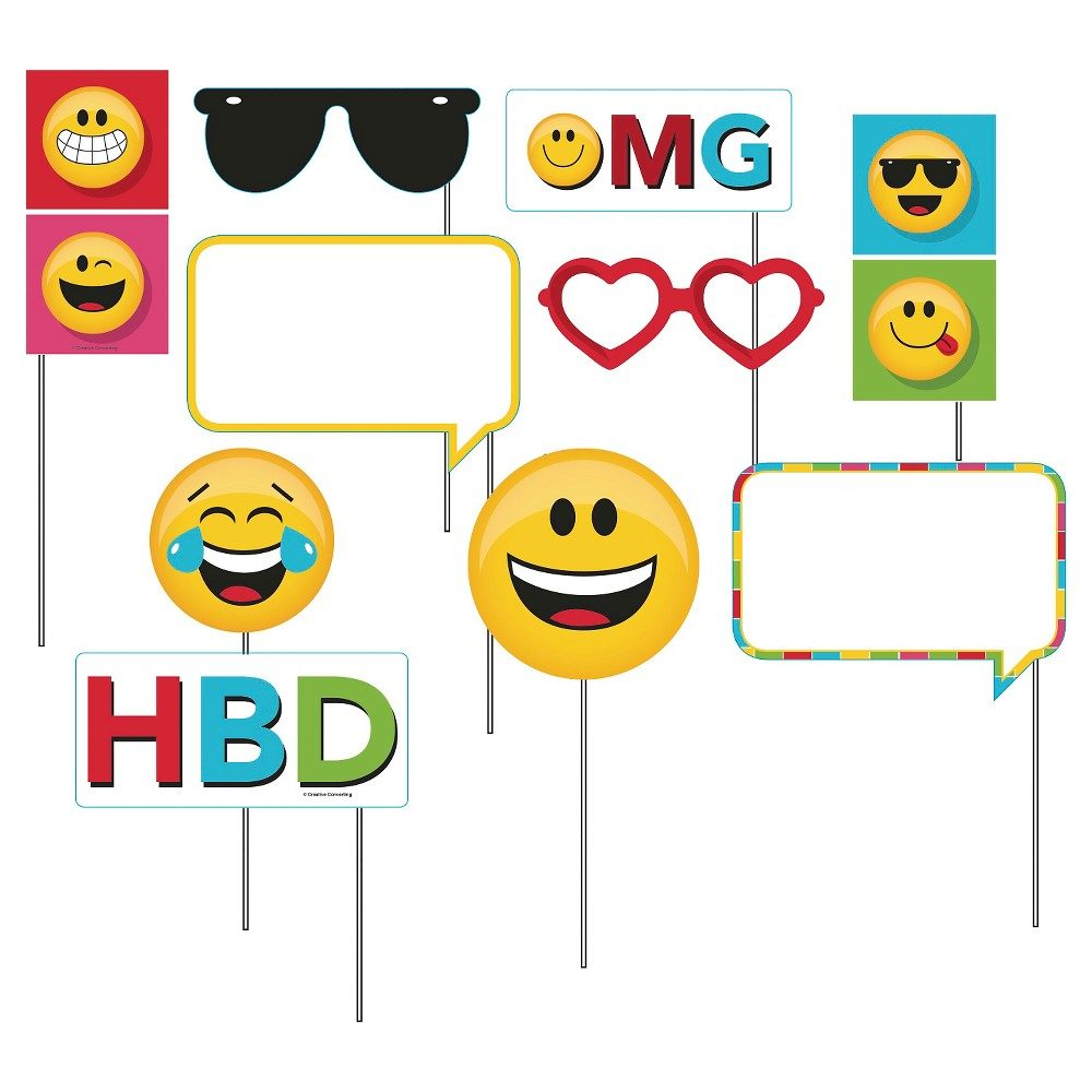 Show Your Emojions Photo Booth Props, 10 pk