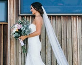 Soft Wedding Veil, All Lengths Available, Long Veil, Cathedral Veil, Bridal Fingertip Veil, Bridal Veil, Chapel Veil, Waltz Veil, Knee Ivory