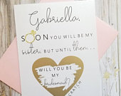 Soon You Will Be My Sister Proposal Bridesmaid Proposal Sister in law proposal Asking Will You Be My Bridesmaid Card Sister Card
