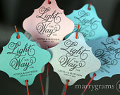 Sparkler Tags Light the Way for the Bride Groom Wedding Favor Tags Script w. Names Date For Sparklers Gold, Pink (24 / 36ct) SS05